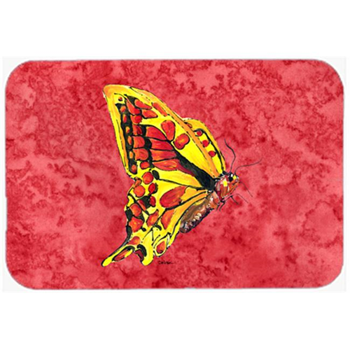 Carolines Treasures 8862MP Butterfly on Red Mouse Pad Hot Pad or Trivet