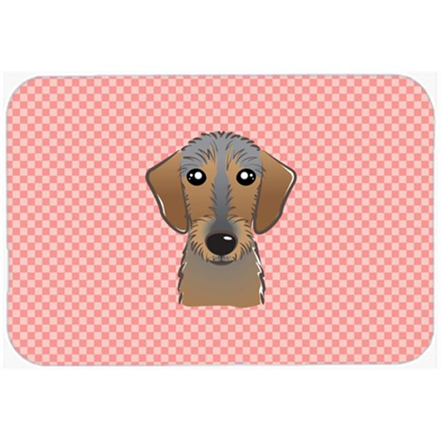 Carolines Treasures BB1233MP Checkerboard Pink Wirehaired Dachshund Mouse Pad Hot Pad Or Trivet 7.75 x 9.25 In.