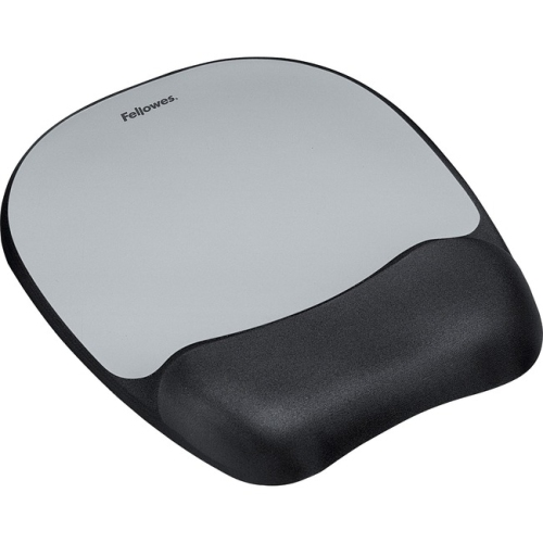 Fellowes Memory Foam Mouse Pad with Wrist Rest Black Silver 9175801 Pack Of 4