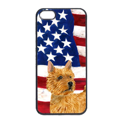 Carolines Treasures SS4026IP4 USA American Flag With Norwich Terrier Iphone 4 Cover