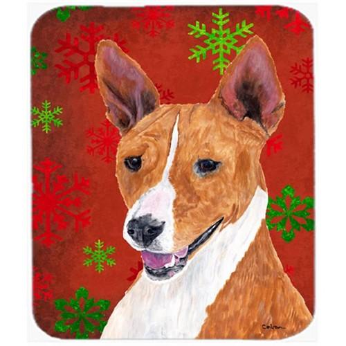 Carolines Treasures SC9427MP Basenji Red And Green Snowflakes Holiday Christmas Mouse Pad Hot Pad Or Trivet