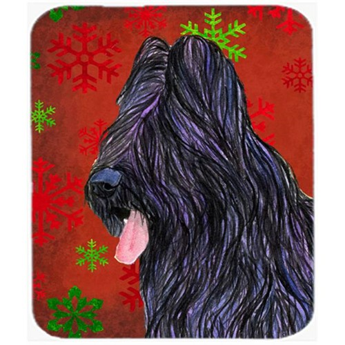 Carolines Treasures SS4696MP Briard Red and Green Snowflakes Holiday Christmas Mouse Pad Hot Pad or Trivet