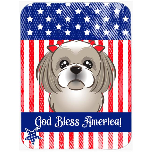 Carolines Treasures BB2180MP God Bless American Flag with Gray Silver Shih Tzu Mouse Pad Hot Pad or Trivet