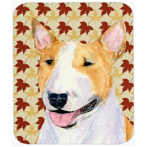 Carolines Treasures SS4360MP Bull Terrier Fall Leaves Portrait Mouse Pad Hot Pad Or Trivet