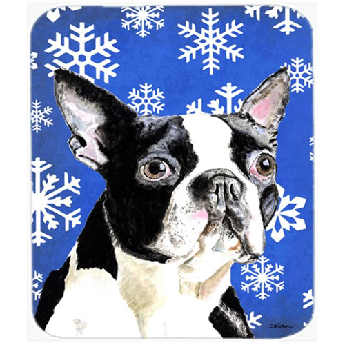 Carolines Treasures SC9360MP Boston Terrier Winter Snowflakes Holiday Mouse Pad Hot Pad or Trivet