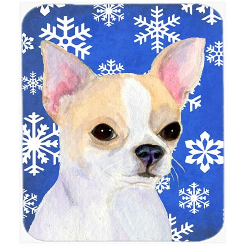 Carolines Treasures SS4612MP Chihuahua Winter Snowflakes Holiday Mouse Pad Hot Pad Or Trivet