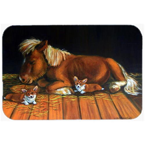 Carolines Treasures 7323MP Corgi Snuggles The Pony Mouse Pad Hot Pad & Trivet