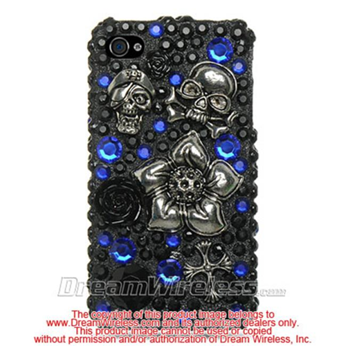 DreamWireless IP-F3DIP4BKBLSK iPhone 4S & iPhone 4 Compatible 3D Full Diamond Case - Black With Blue & Skull