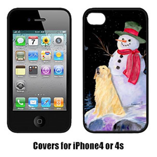 Carolines Treasures SS8951IP4 Snowman With Golden Retriever Cell Phone Cover Iphone4