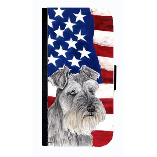 Carolines Treasures SC9110NBIP4 USA American Flag With Schnauzer Cell Phonebook Case Cover For Iphone 4 Or 4S