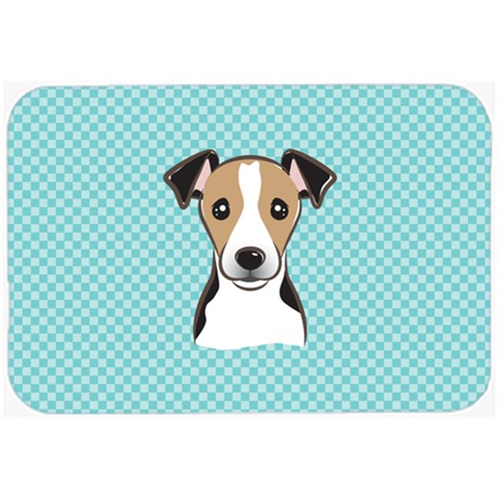 Carolines Treasures BB1199MP Checkerboard Blue Jack Russell Terrier Mouse Pad Hot Pad Or Trivet 7.75 x 9.25 In.