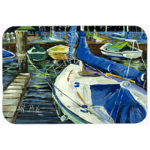 Carolines Treasures JMK1031MP Night On The Docks Sailboat Mouse Pad Hot Pad & Trivet