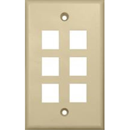 Morris Products 88150 Wallplate For Keystone Jacks And Modular Inserts Six Ports Ivory