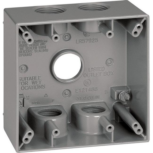 Sigma 14353-5 2 Gang Gray Square Weatherproof Outlet Box