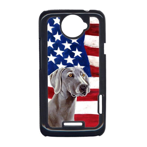 Carolines Treasures LH9001HTCONE USA American Flag With Weimaraner HTC One X Cell Phone Cover