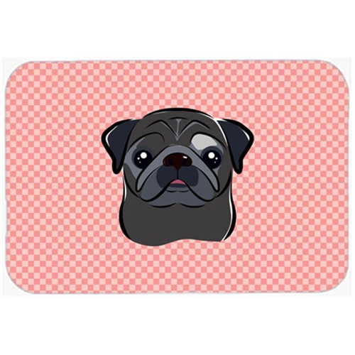 Carolines Treasures BB1263MP Checkerboard Pink Black Pug Mouse Pad Hot Pad Or Trivet 7.75 x 9.25 In.