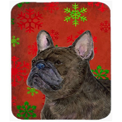 Carolines Treasures SS4726MP French Bulldog Red and Green Snowflakes Christmas Mouse Pad Hot Pad or Trivet