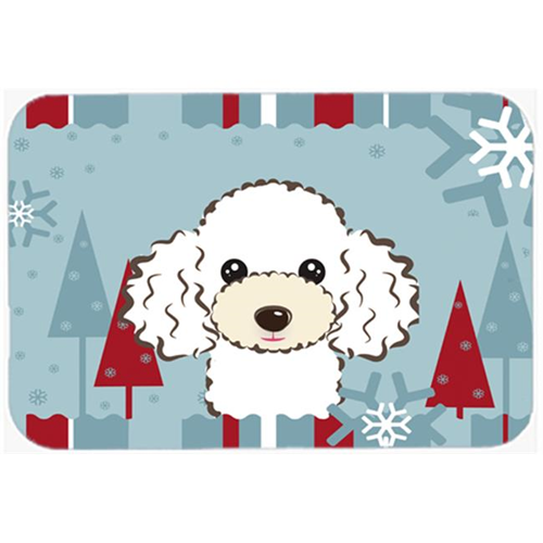 Carolines Treasures BB1753MP Winter Holiday White Poodle Mouse Pad Hot Pad & Trivet
