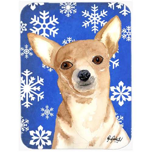 Carolines Treasures RDR3011MP 7.75 x 9.25 In. White Snowflake Chihuahua Christmas Mouse Pad Hot Pad or Trivet
