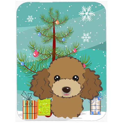 Carolines Treasures BB1628MP Christmas Tree And Chocolate Brown Poodle Mouse Pad Hot Pad & Trivet