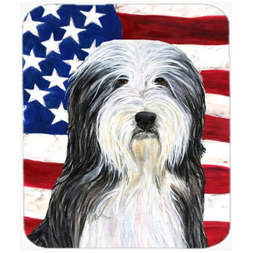 Carolines Treasures SS4024MP Usa American Flag With Bearded Collie Mouse Pad Hot Pad Or Trivet