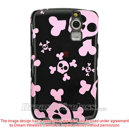 DreamWireless CABB8330BKPKSK Blackberry 8330 And 8300 Crystal Case Black With Pink Skull