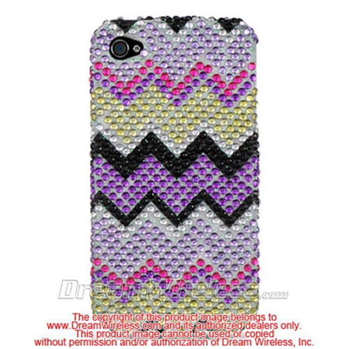 DreamWireless IP-FDIP4RBZZ iPhone 4S & iPhone 4 Compatible Full Diamond Case - Rainbow Zig Zag