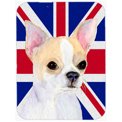 Carolines Treasures SS4916MP 7.75 x 9.25 In. Chihuahua With English Union Jack British Flag Mouse Pad Hot Pad Or Trivet