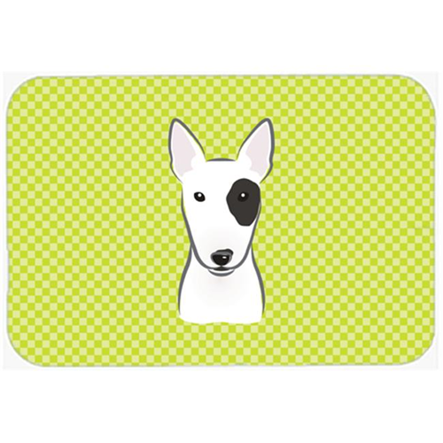 Carolines Treasures BB1271MP Checkerboard Lime Green Bull Terrier Mouse Pad Hot Pad Or Trivet 7.75 x 9.25 In.