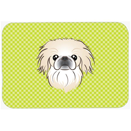 Carolines Treasures BB1283MP Checkerboard Lime Green Pekingese Mouse Pad Hot Pad Or Trivet 7.75 x 9.25 In.