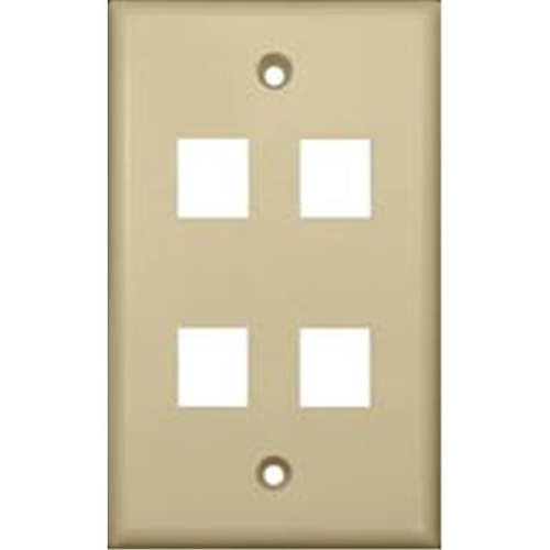 Morris Products 88148 Wallplate For Keystone Jacks And Modular Inserts Four Ports Ivory