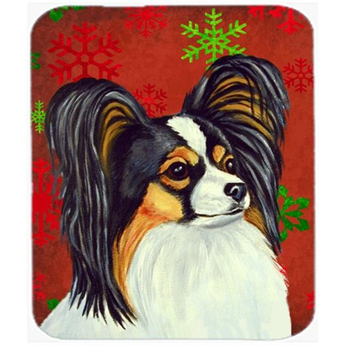Carolines Treasures LH9345MP Papillon Red And Green Snowflakes Christmas Mouse Pad Hot Pad Or Trivet - 7.75 x 9.25 In.
