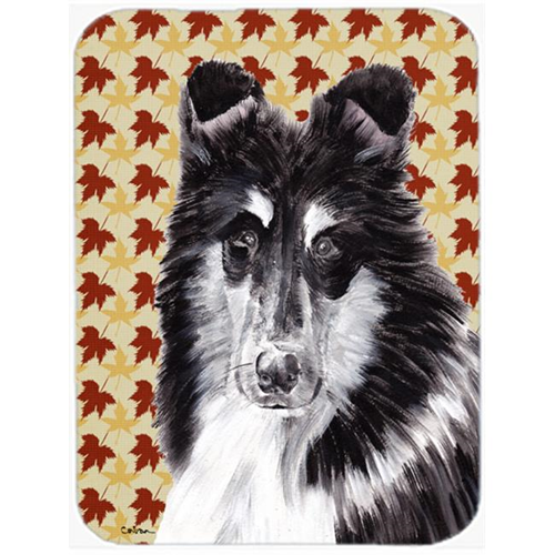 Carolines Treasures SC9678MP Black And White Collie Fall Leaves Mouse Pad Hot Pad Or Trivet 7.75 x 9.25 In.