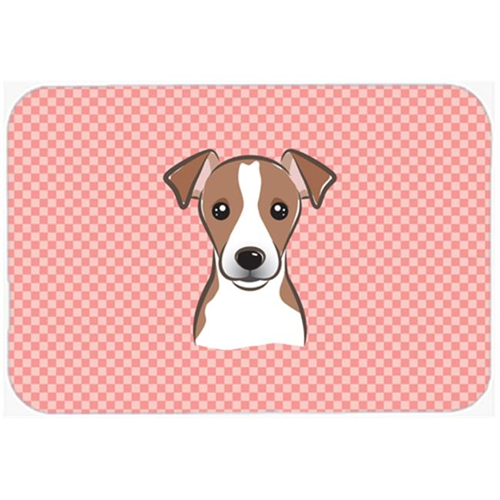 Carolines Treasures BB1260MP Checkerboard Pink Jack Russell Terrier Mouse Pad Hot Pad Or Trivet 7.75 x 9.25 In.