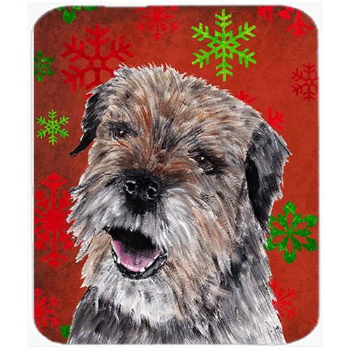 Carolines Treasures SC9585MP 7.75 x 9.25 in. Border Terrier Red Snowflake Christmas Mouse Pad Hot Pad or Trivet