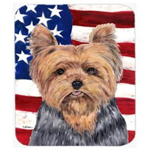 Carolines Treasures SC9111MP Usa American Flag With Yorkie Mouse Pad Hot Pad Or Trivet