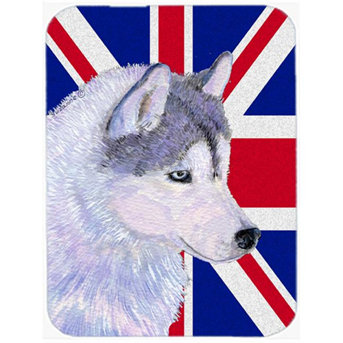 Carolines Treasures SS4906MP 7.75 x 9.25 In. Siberian Husky With English Union Jack British Flag Mouse Pad Hot Pad Or Trivet