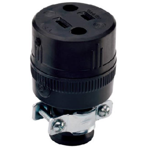 Pass & Seymour 224CC10 Residential Heavy Duty Rubber Construction Connector 15A Black