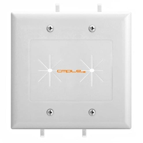 Cmple 1235-N Cable Plate with Flexible Opening 2 Gang - White