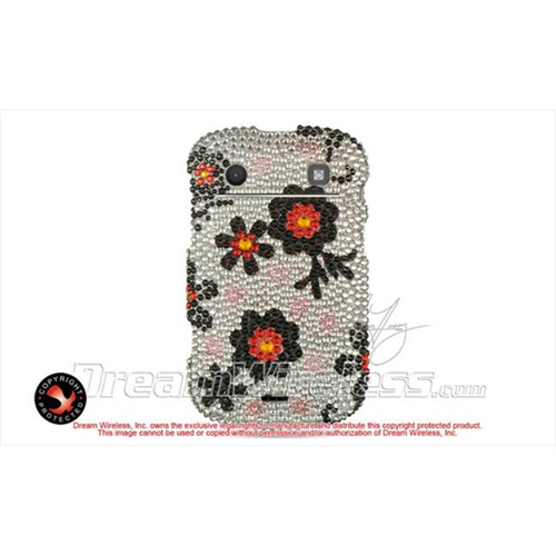 DreamWireless FDBB9900SLBKDA Blackberry Bold Touch 9900 9930 Full Diamond Case Silver With Black Daisy