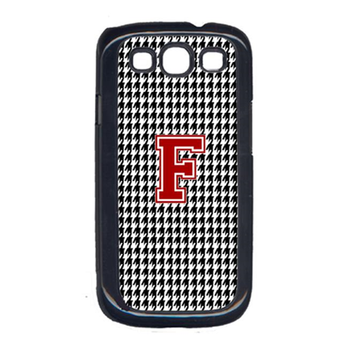 Carolines Treasures CJ1021-F-GALAXYSIII 3 x 5 in. Houndstooth Black Letter F Monogram Initial Cell Phone Cover for Galaxy S111