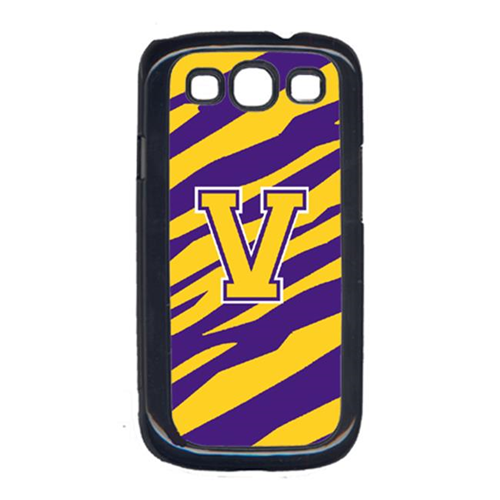 Carolines Treasures CJ1022-V-GALAXYSIII Tiger Stripe - Purple Gold Letter V Monogram Initial Galaxy S111 Cell Phone Cover