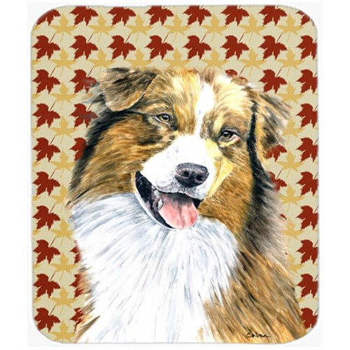 Carolines Treasures SC9237MP Australian Shepherd Fall Leaves Portrait Mouse Pad Hot Pad Or Trivet