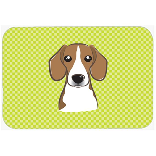 Carolines Treasures BB1301MP Checkerboard Lime Green Beagle Mouse Pad Hot Pad Or Trivet 7.75 x 9.25 In.