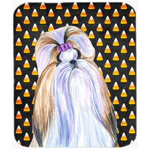 Carolines Treasures SS4258MP Shih Tzu Candy Corn Halloween Portrait Mouse Pad Hot Pad Or Trivet