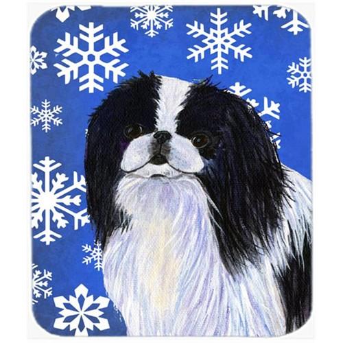 Carolines Treasures SS4605MP Japanese Chin Winter Snowflakes Holiday Mouse Pad Hot Pad Or Trivet