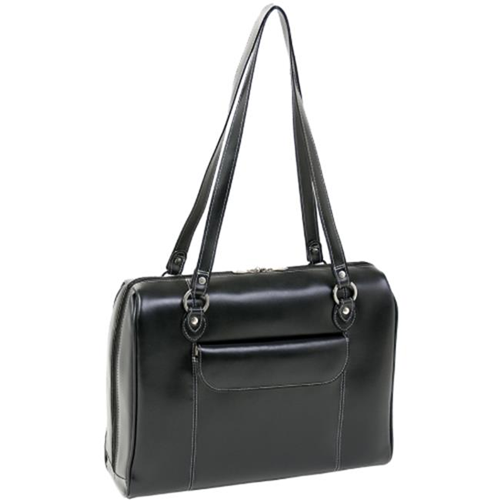 McKlein GLENVIEW 94745C Black Leather Ladies Laptop Case