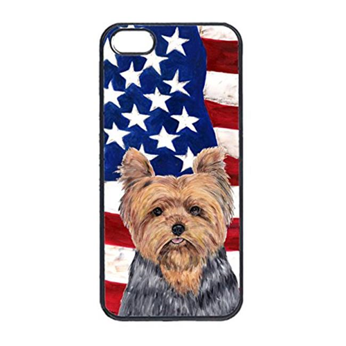 Carolines Treasures SC9111IP4 USA American Flag With Yorkie Iphone 4 Cover