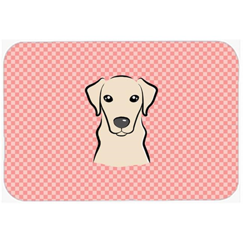 Carolines Treasures BB1222MP Checkerboard Pink Yellow Labrador Mouse Pad Hot Pad Or Trivet 7.75 x 9.25 In.