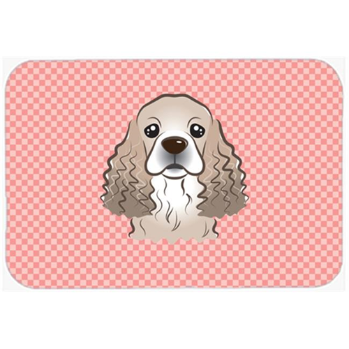 Carolines Treasures BB1216MP Checkerboard Pink Cocker Spaniel Mouse Pad Hot Pad Or Trivet 7.75 x 9.25 In.